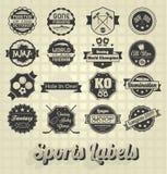 Etiquetas e iconos mezclados de los deportes Fotografía de archivo libre de regalías