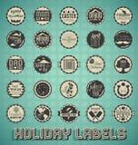 Etiquetas e iconos mezclados retros del día de fiesta Fotografía de archivo libre de regalías