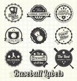 Etiquetas e iconos retros del béisbol Foto de archivo libre de regalías