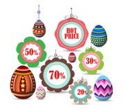 Etiquetas e insignias de Pascua para la venta ilustración del vector
