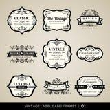 Etiquetas e quadros do vintage ilustração do vetor