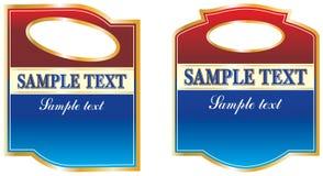 Etiquetas em Borgonha e em cores azuis ilustração stock