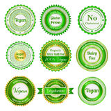 Etiquetas, emblemas e etiquetas orgânicos Fotos de Stock Royalty Free