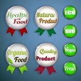 Etiquetas, emblemas e etiquetas orgânicos do vidro Imagem de Stock Royalty Free