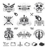 Etiquetas, emblemas y logotipos del servicio del coche Foto de archivo