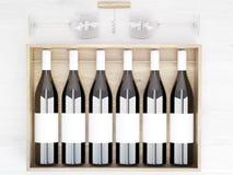 Etiquetas en blanco de las botellas de vino Foto de archivo libre de regalías