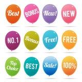 Etiquetas en línea del márketing del globo Fotos de archivo libres de regalías