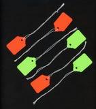 Etiquetas en negro Imagen de archivo libre de regalías