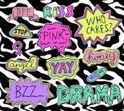 Etiquetas engomadas adolescentes fijadas ilustración del vector