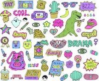 Etiquetas engomadas adolescentes fijadas stock de ilustración