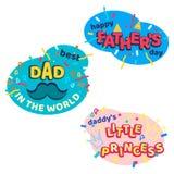 Etiquetas engomadas aisladas historieta brillante feliz del día de padres fijadas stock de ilustración