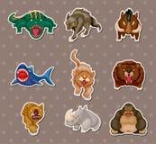Etiquetas engomadas animales enojadas stock de ilustración