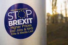 Etiquetas engomadas antis-brexit, Estrasburgo foto de archivo libre de regalías