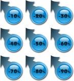 Etiquetas engomadas azules Foto de archivo libre de regalías