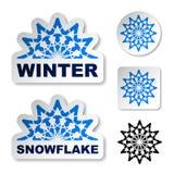 Etiquetas engomadas azules del copo de nieve del invierno Imagen de archivo libre de regalías