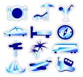 Etiquetas engomadas azules del día de fiesta y del viaje Imágenes de archivo libres de regalías