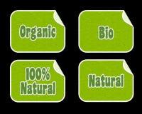 Etiquetas engomadas bio y orgánicas Imagen de archivo
