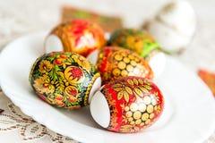 Etiquetas engomadas blancas de Pascua adornadas en el estilo de Khokhloma Fotografía de archivo libre de regalías