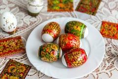 Etiquetas engomadas blancas de Pascua adornadas en el estilo de Khokhloma Foto de archivo libre de regalías
