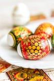 Etiquetas engomadas blancas de Pascua adornadas en el estilo de Khokhloma Fotos de archivo libres de regalías