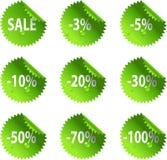 Etiquetas engomadas brillantes de la venta del día del St. Patrick verde Fotos de archivo