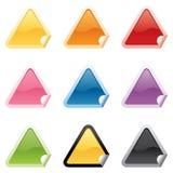 Etiquetas engomadas brillantes del triángulo Fotografía de archivo libre de regalías