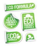 Etiquetas engomadas cómodas de la fórmula de Eco. Imagen de archivo libre de regalías