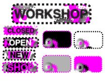 Etiquetas engomadas (cerrado, abierto, taller) Foto de archivo