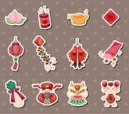 Etiquetas engomadas chinas del Año Nuevo Foto de archivo libre de regalías