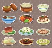 Etiquetas engomadas chinas del alimento de la historieta Fotografía de archivo