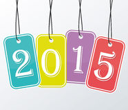 2015 etiquetas engomadas coloreadas Foto de archivo libre de regalías