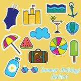Etiquetas engomadas coloridas de las vacaciones de verano Fotografía de archivo