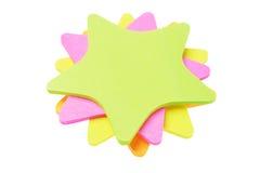 Etiquetas engomadas coloridas del papel de la forma de la estrella Fotos de archivo libres de regalías