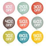 Etiquetas engomadas coloridas del vector del descuento plano del diseño Imágenes de archivo libres de regalías