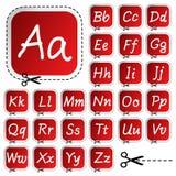 Etiquetas engomadas con alfabeto del gráfico de la mano Imagenes de archivo
