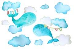 Etiquetas engomadas con las ballenas y las nubes ilustración del vector