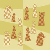 Etiquetas engomadas con las figuras estilizadas del ajedrez Imagen de archivo