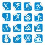 Etiquetas engomadas con los iconos del deporte de invierno Fotos de archivo libres de regalías