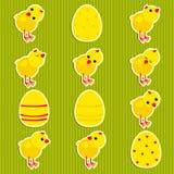 Etiquetas engomadas con los pollos stock de ilustración