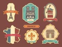 Etiquetas engomadas con símbolos de Francia libre illustration