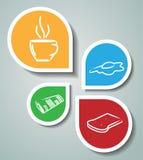 Etiquetas engomadas con símbolos relacionados de la mañana ilustración del vector