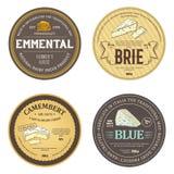 Etiquetas engomadas creativas con los iconos del queso del esquema Foto de archivo libre de regalías