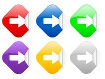 Etiquetas engomadas cuadradas correctas de la flecha Fotos de archivo libres de regalías