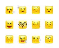 Etiquetas engomadas cuadradas emocionales del animado Imagen de archivo
