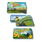 Etiquetas engomadas Dakota del Sur Nebraska Kansas del equipaje Imágenes de archivo libres de regalías