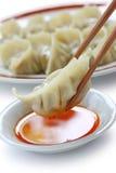 Etiquetas engomadas de crisol, gyoza, alimento japonés imagenes de archivo