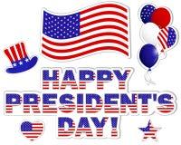 Etiquetas engomadas de Day de presidente. Imagenes de archivo