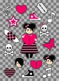 Etiquetas engomadas de Emo stock de ilustración