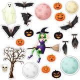 Etiquetas engomadas de Halloween ilustración del vector