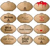 Etiquetas engomadas de Halloween aisladas en el fondo blanco Escrituras de la etiqueta de la vendimia Fotos de archivo